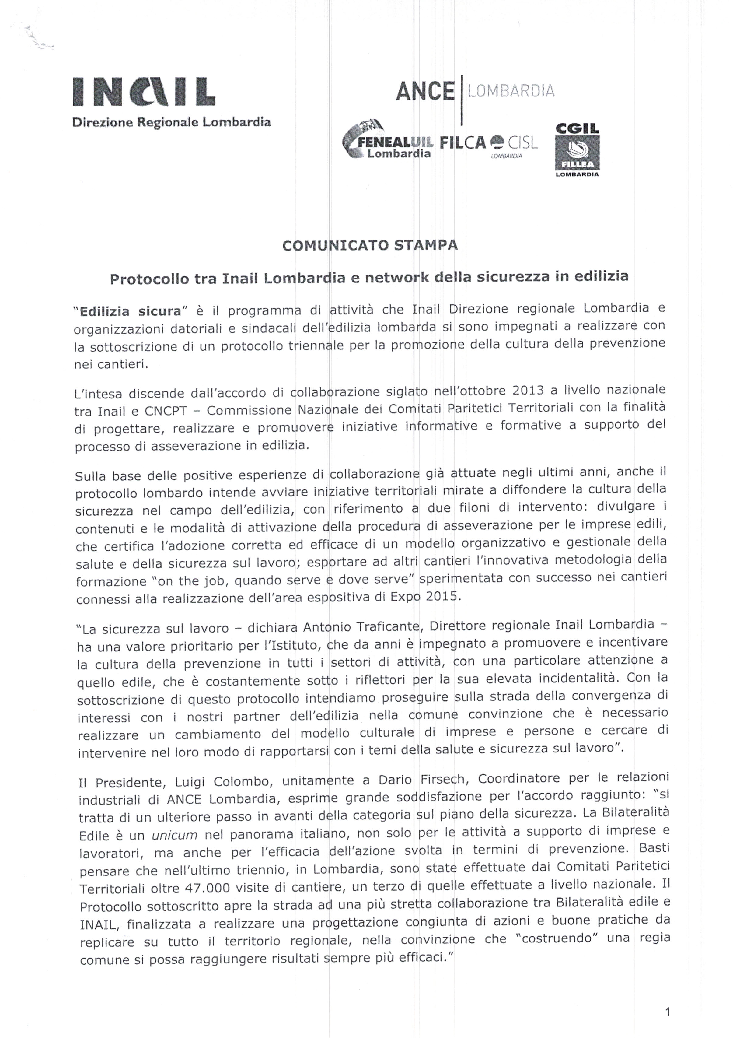 Lombardia protocollo tra inail regionale e network della for Ccnl legno e arredamento industria