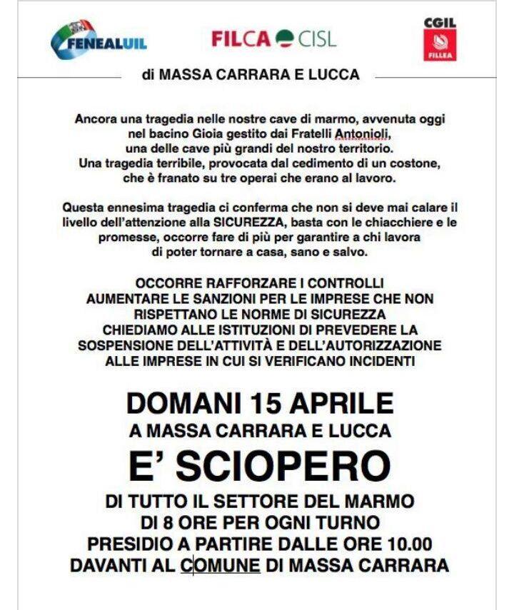 volantino sciopero 15 aprile Massa Carrara